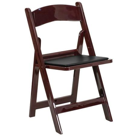 Flash Furniture HERCULES Series 1000 lb. Capacity Red Mahogany Resin Folding Chair with Black Vinyl Padded
