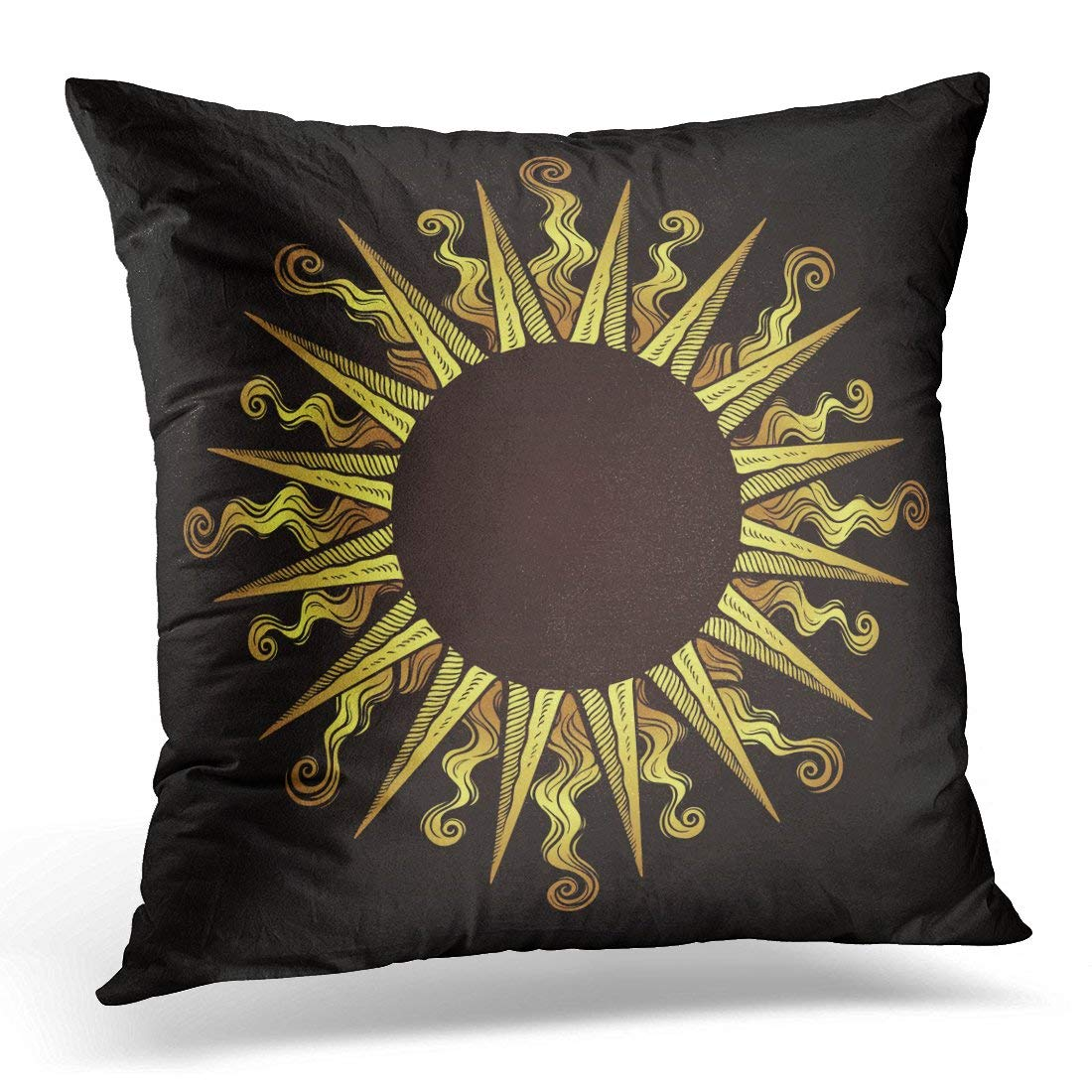 USART Greek Ornate Antique Gold Etching Style in Shape of Sun Rays Alchemy Pillows case 20x20 Inches Home Decor Sofa Cushion Cover