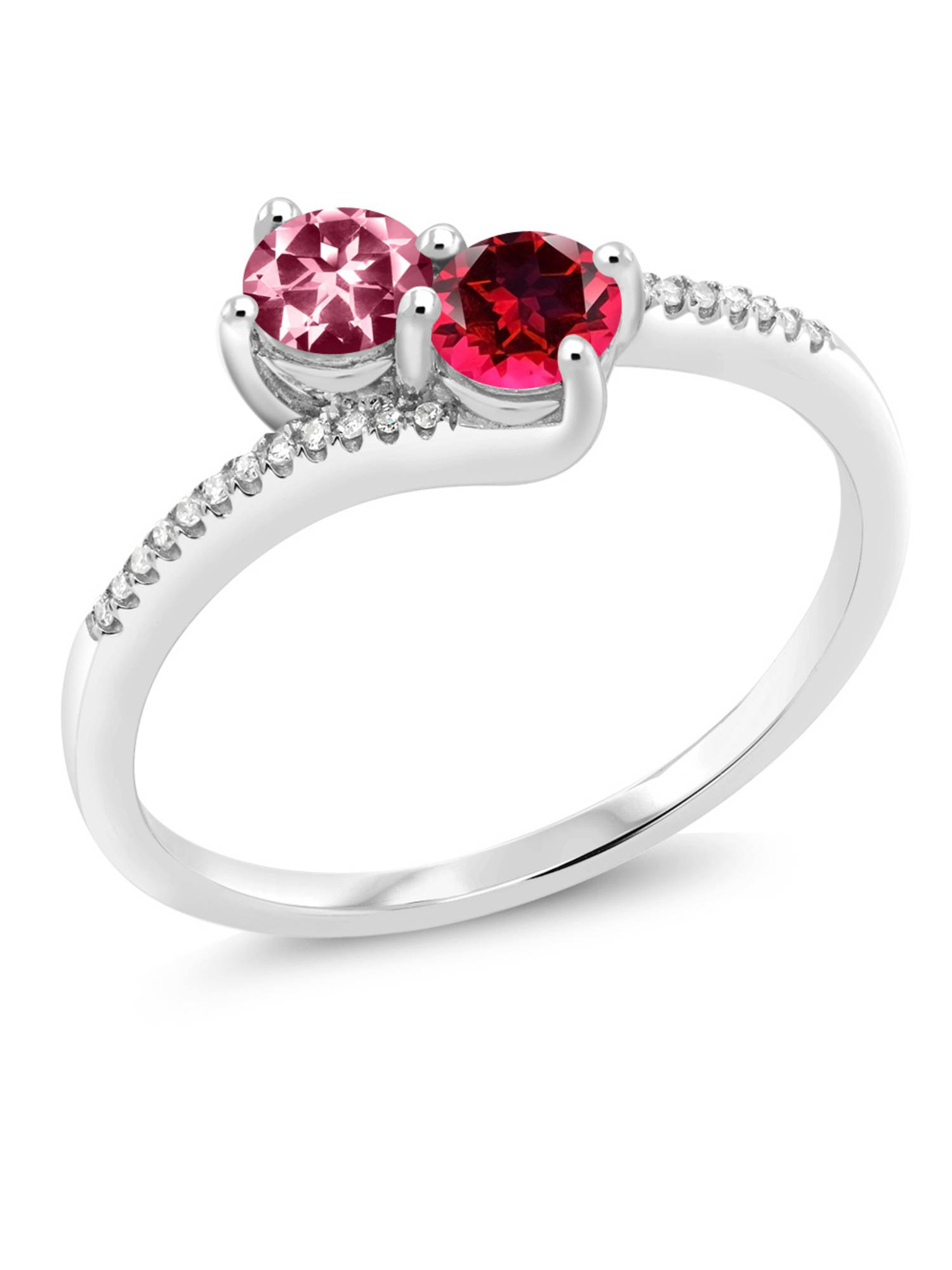 10K White Gold Fashion Right-Hand Ring 4mm Set with Pink Topaz from Swarovski by