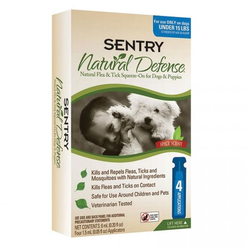 Sentry Natural Defense Flea and Tick Squeeze-On for Dogs and Puppies - (4 Month Supply) Small Dogs - (Up to 15 Pounds)