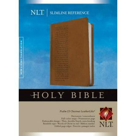 Holy Bible  New Living Translation Chestnut Psalm 23 Leatherlike Slimline Reference Bible