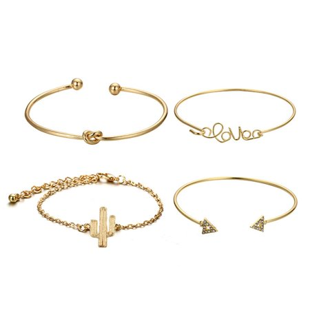 iLH Mallroom 4PC Knot Love Gold Opening Vintage Beautiful Leaf Arrow Bangle Cuff Bracelets Se