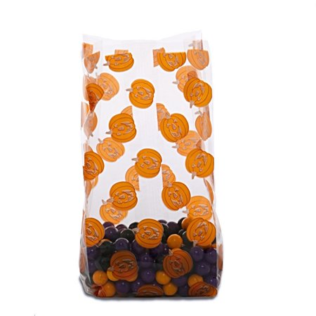 Halloween Pumpkins Cello Treat Bags - 9.5in. x 4in. x 2.5in. - 20 Pack - Homemade Halloween Treat Bag Ideas