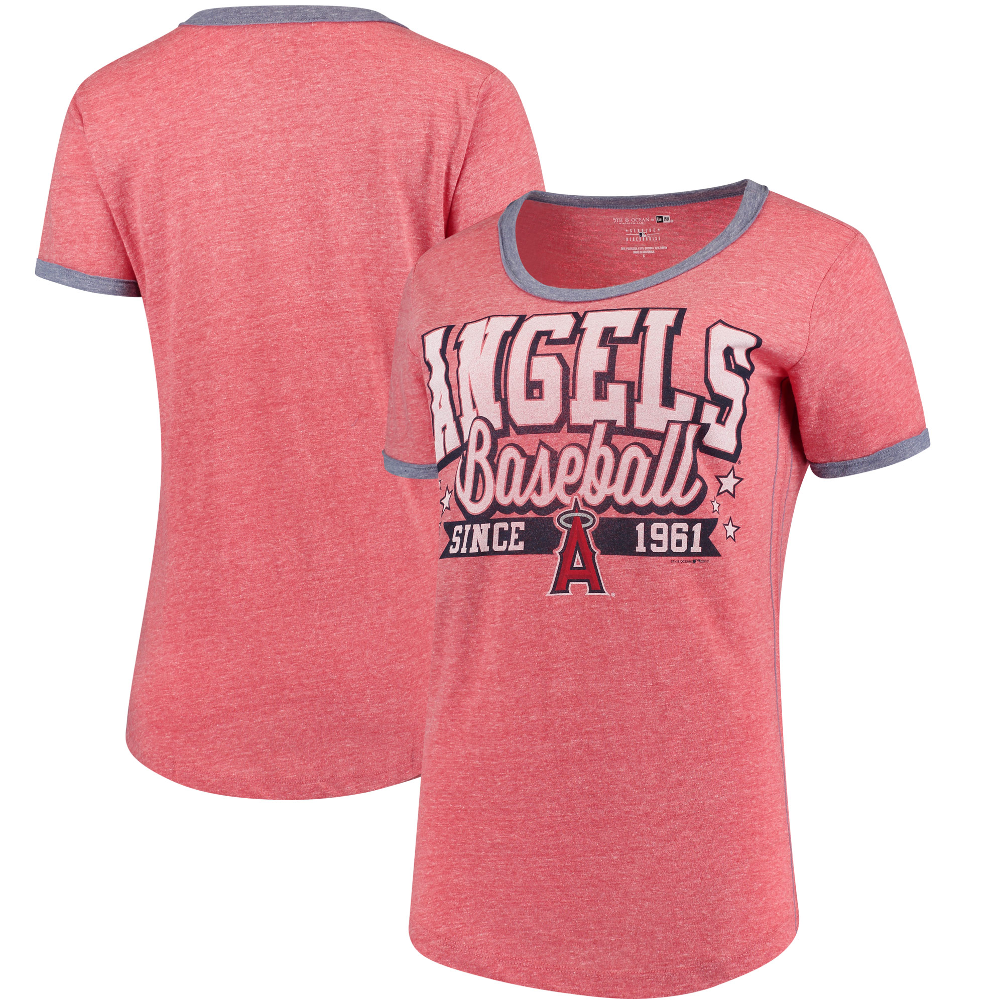 Los Angeles Angels 5th & Ocean by New Era Women's Jersey Ringer Tri-Blend T-Shirt - Red/Navy