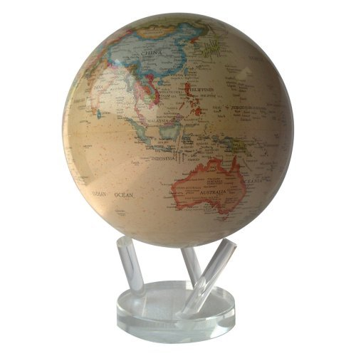 TurtleTech Designs Antique Ocean 8.5-inch Solar Powered MOVA World Globe