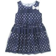 Toddler Girl Bow Detail Overlay Dress