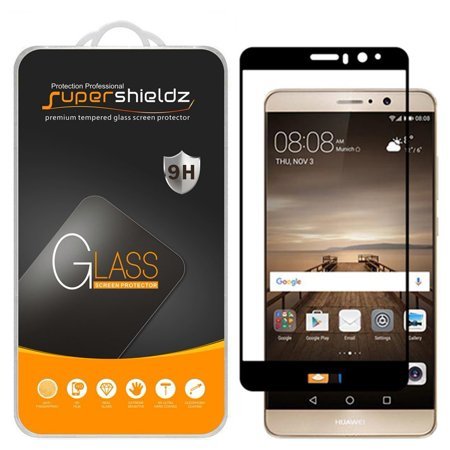 [2-Pack] Supershieldz for Huawei Mate 9 [Full Screen Coverage] Tempered Glass Screen Protector, Anti-Scratch, Anti-Fingerprint, Bubble Free (Black Frame)](huawei mate 9 us)