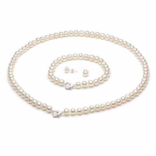 """10-11mm White Freshwater Pearl Heart-Shape Sterling Silver Necklace (18""""), Bracelet (7"""") Set with Bonus Pearl... by Jacqueline's Collection"""