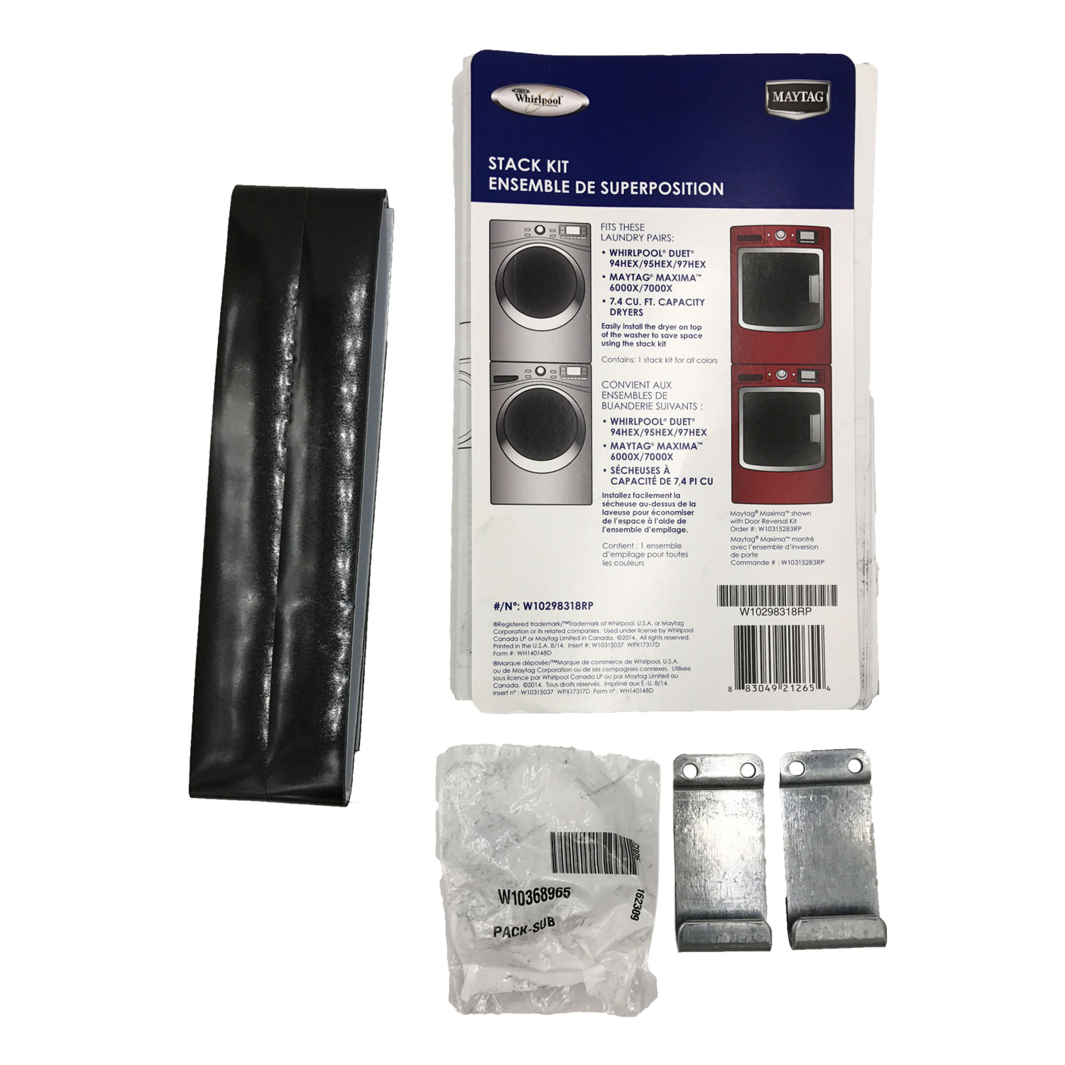 W10298318RP Whirlpool Washer Kit Stack