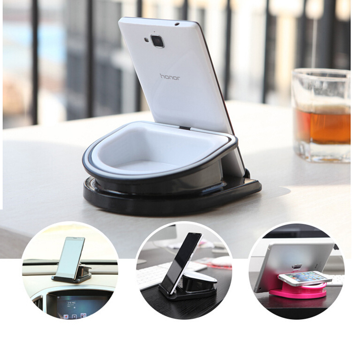 2in1 Rotatable Car Dashboard Desk Mount Holder Storage For iPhone For Samsung Cell Phone
