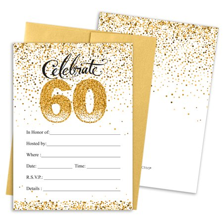 60th Birthday Invites (60th Birthday Party Invitations | 10 Cards | 5x7 Invites with Envelopes | White and)