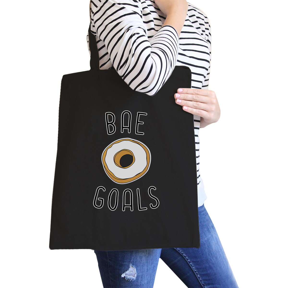 Bae Goals Black Cotton Eco Bag Cute Graphic Birthday Gifts For Him