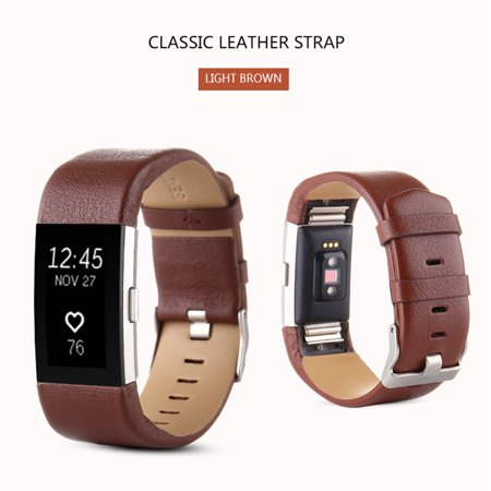 iLH Mallroom Pure Color Sports Leather Wrist Watch Band Strap Bracelet Replacement For Fitbit Charge 2