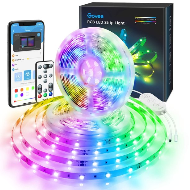 Govee Color Changing 32 8ft Led Strip Lights Bluetooth App Control Remote Control Box Led Music Lights 7 Scenes Mode Multicolor Led Lights For Bedroom Room Kitchen Party 2x16 4ft Walmart Com Walmart Com