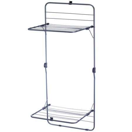 2 tier over the door laundry clothes drying rack steel opens to 50 x 20 x 16. Black Bedroom Furniture Sets. Home Design Ideas