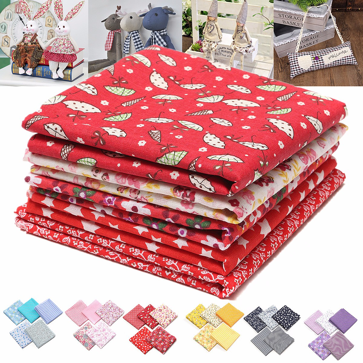 5Pcs 19.69x19.69'' Squares DIY Multicolor HANDMADE FABRIC Assorted Mixed Pattern Cotton Fabric Sewing Quilting Hand Stitching Patchwork DIY Craft Can Make Christmas Decor