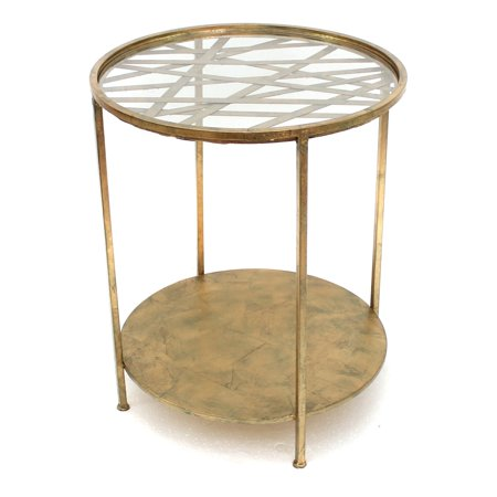 Teton Home Gold And Mirrored Round End Table