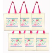 Flamingo Party Tote Bags - Set of 6 Party Favor Bags