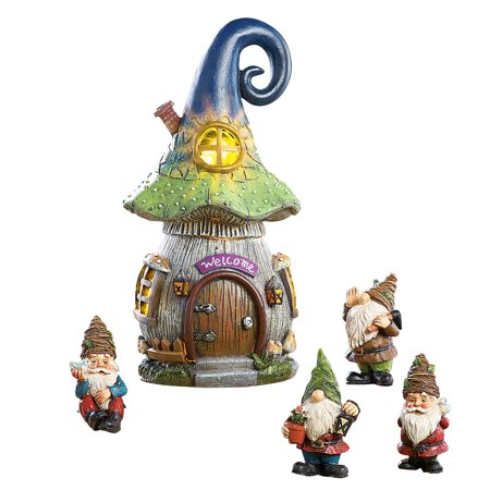 Solar Mushroom Gnome House Garden Décor - 5 Pc Set - for Fairy Gardens
