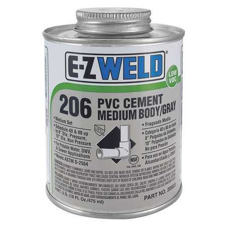 EZ WELD WW90603 Cement, 16 Oz, Gray, PVC, Medium Body, LowVOC