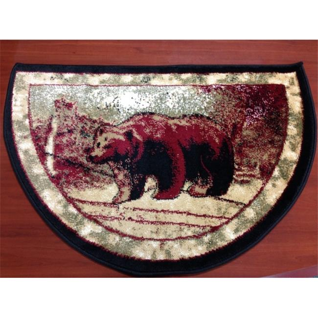 IMS 28625620862640 Hearth Rug Wild Life Bear Design Lodge Cabin Fireplace, Red Green 2 x 3... by IMS