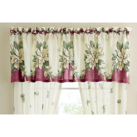 Collections Etc Floral Magnolia Garden Curtain Collection, Machine Washable, Polyester & Polyester Blend ()