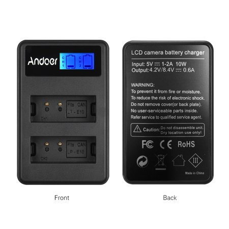 Andoer LCD2-LPE10 Compact Dual Channel LCD Camera Battery USB Input LCD Display for Canon LP-E10 Camera Battery for Canon Rebel T3 T5 T6 Kiss X50 Kiss X70 1100D 1200D 1300D Digital Camera - image 2 of 7