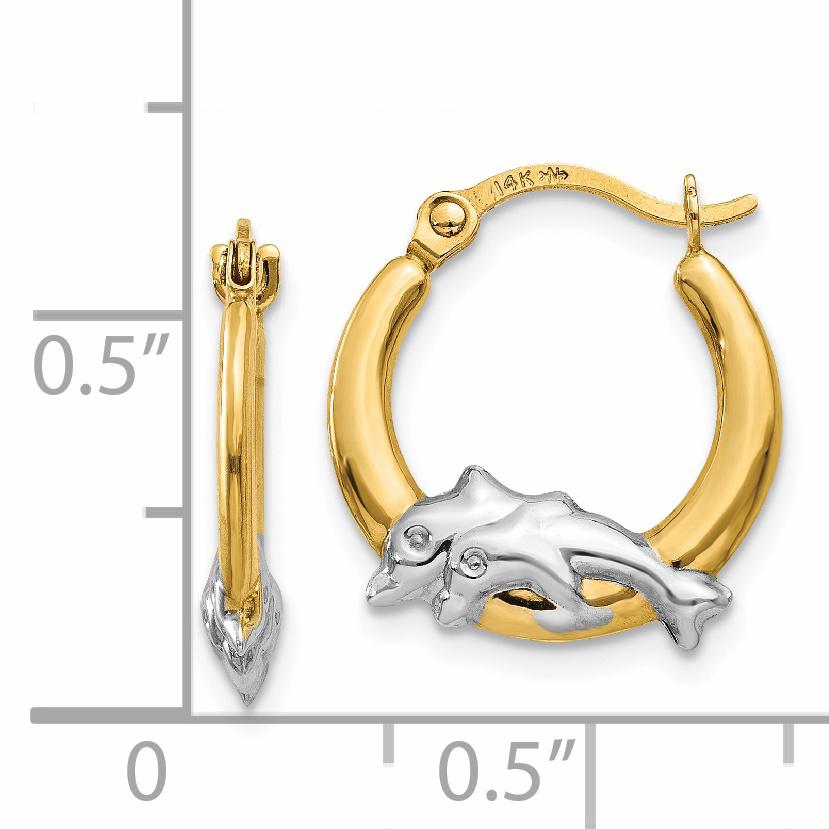 14K & Rhodium Dolphin Hoop Earrings TL729 - image 2 de 4