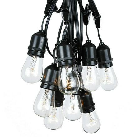 100 Foot S14 Edison Outdoor String Lights - Suspended - Commercial Grade String Lights - Backyard Garden Gazebo – Cafe Market String Lights – Vintage Patio String Lights - Black Wire
