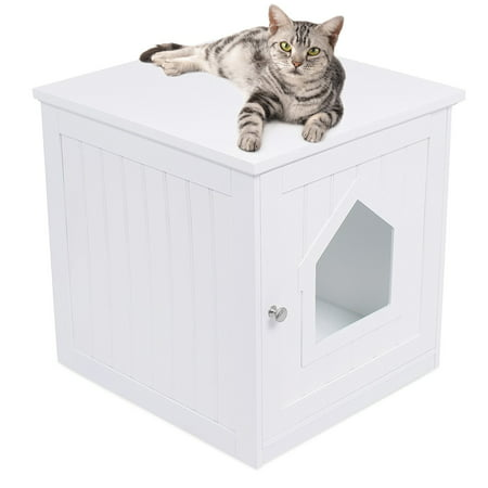 Internet's Best Decorative Cat House & Side Table | Cat Home Nightstand | Indoor Pet Crate | Litter Box Enclosure | Hooded Hidden Pet Box | Cats Furniture Cabinet | Kitty Washroom |