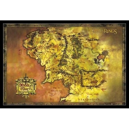 Middle Frame Housing - Lord Of The Rings Map Map Of Middle Earth Laminated & Framed Poster Print (24 x 36)