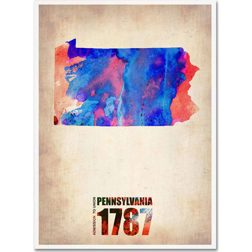 "Trademark Fine Art ""Pennsylvania Watercolor Map"" Canvas Art by Naxart"