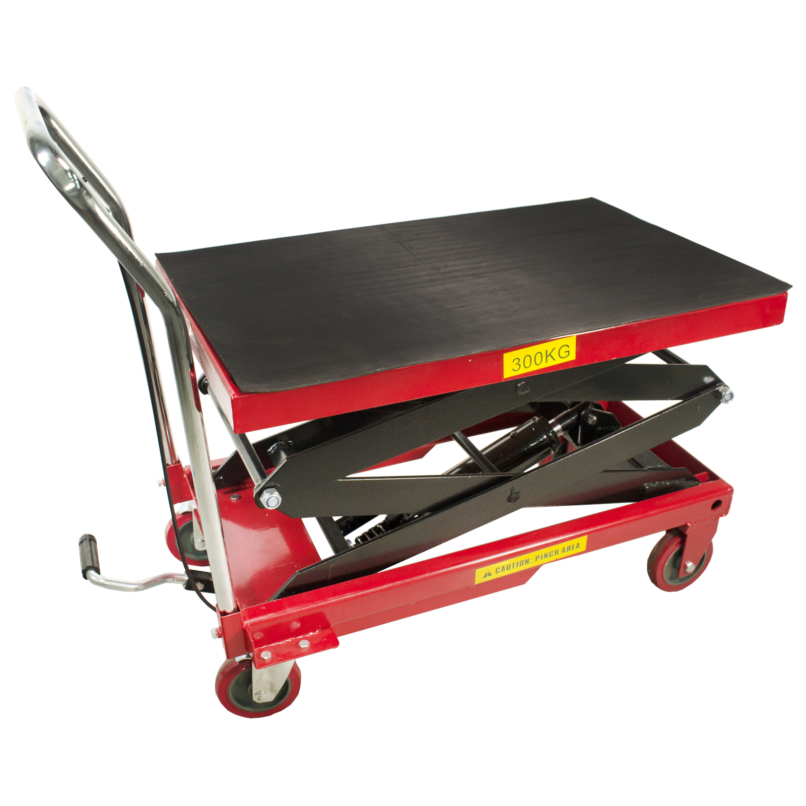 Dragway Tools® 770 LB Hydraulic Work Table Lift Movable Push Garage Shop Cart Raises up to 51""