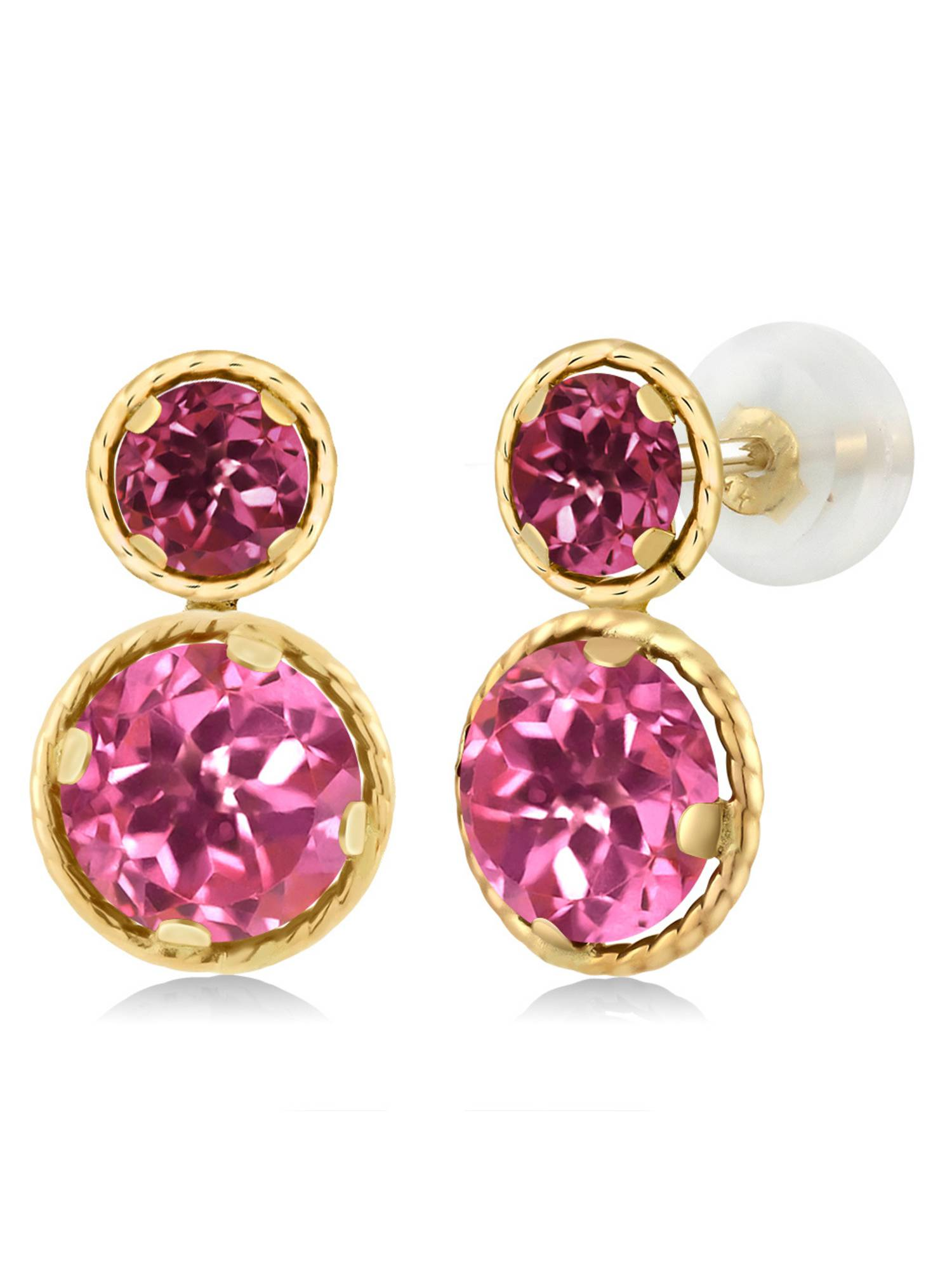 4.10 Ct Round Pink Mystic Topaz Pink Tourmaline 14K Yellow Gold Earrings by