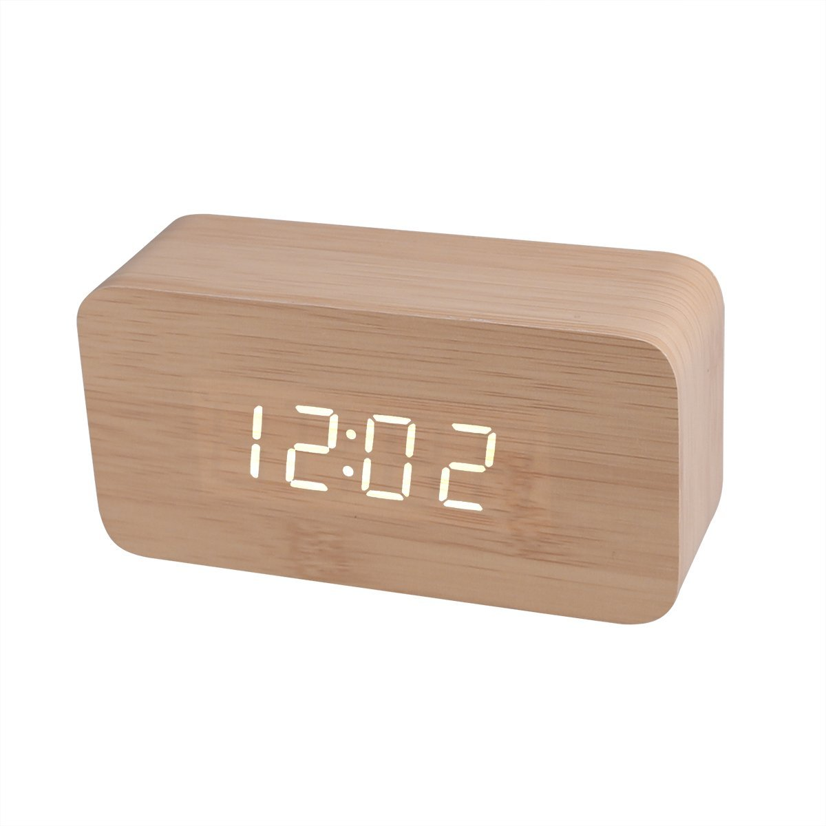 Wood Cuboid Digital Clock Alarm Thermometer Temperature Function Clap On Sound Control Clock Bamboo case