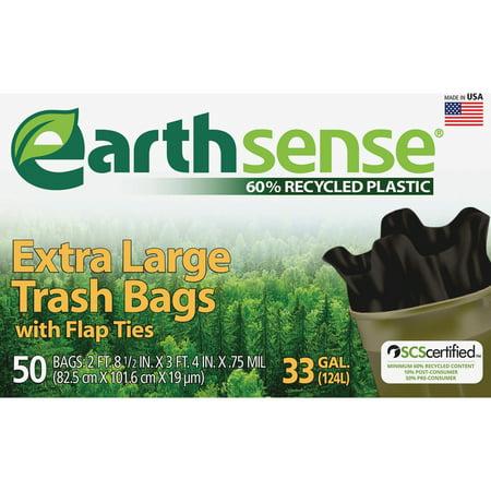 Webster, WBIGES6FTL50, Earth Sense 33-gal Extra Large Trash Bags, 50 / Box, Black