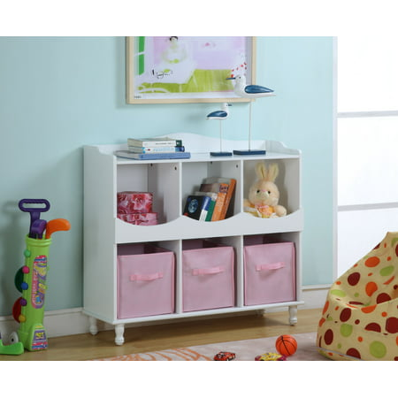 Marie White Pink Wood Kids Storage Cubby Display Cabinet With Shelves Fabric Bins