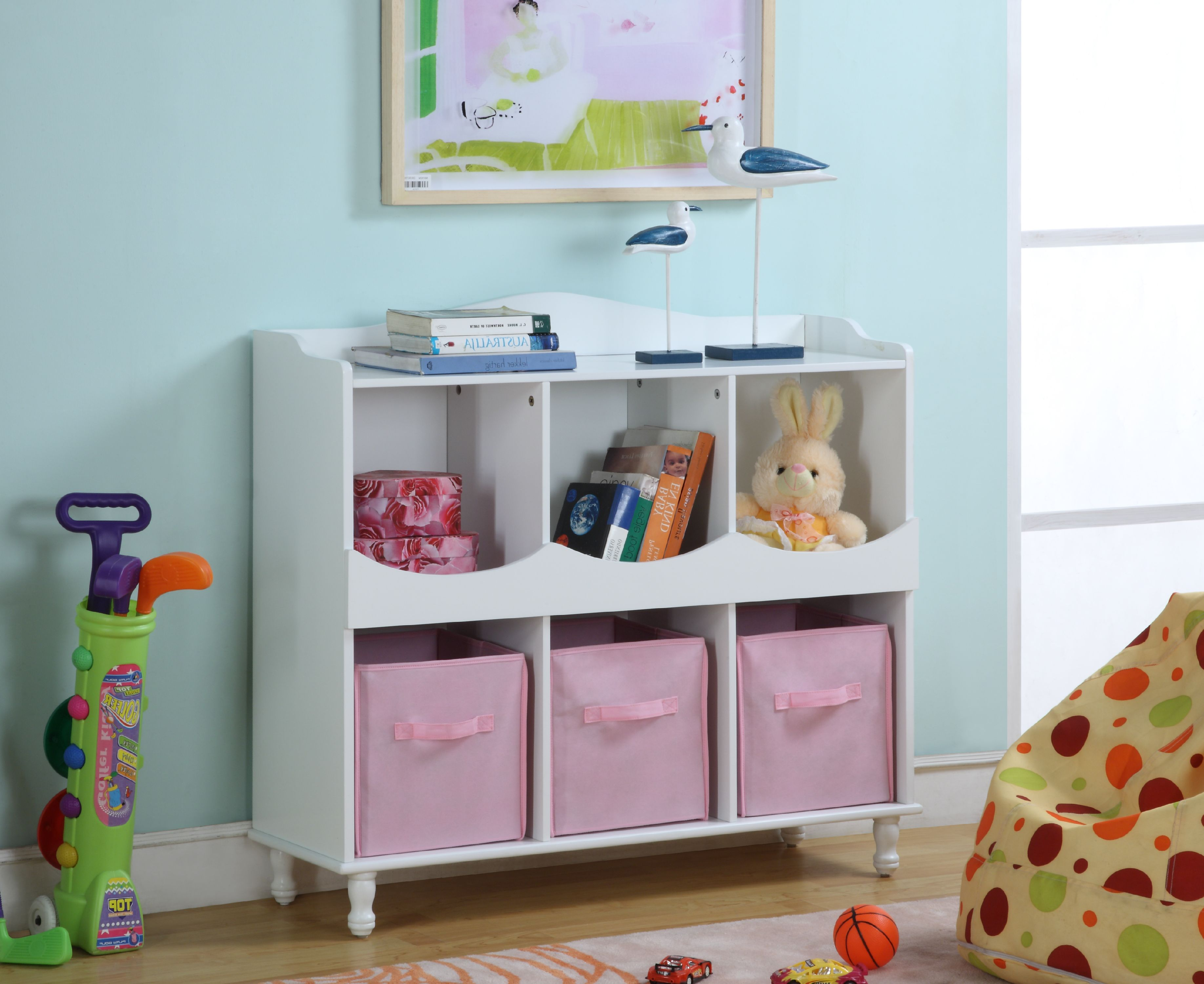 Marie White U0026 Pink Wood Kids Storage Cubby Display Cabinet With Shelves U0026  Fabric Bins