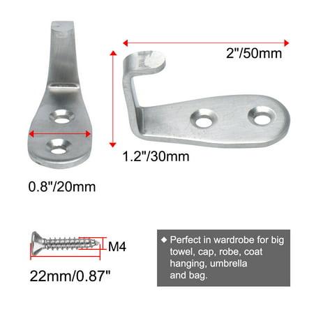Wall Hooks Stainless Steel 50mm Hook Coat Hanger w Screws Silver Tone 3pcs - image 6 de 7