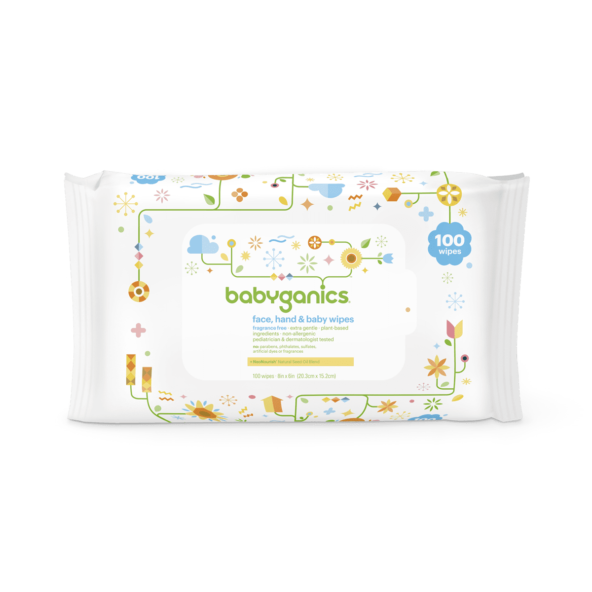 Babyganics Face, Hand & Baby Wipes, Fragrance Free (100 count)