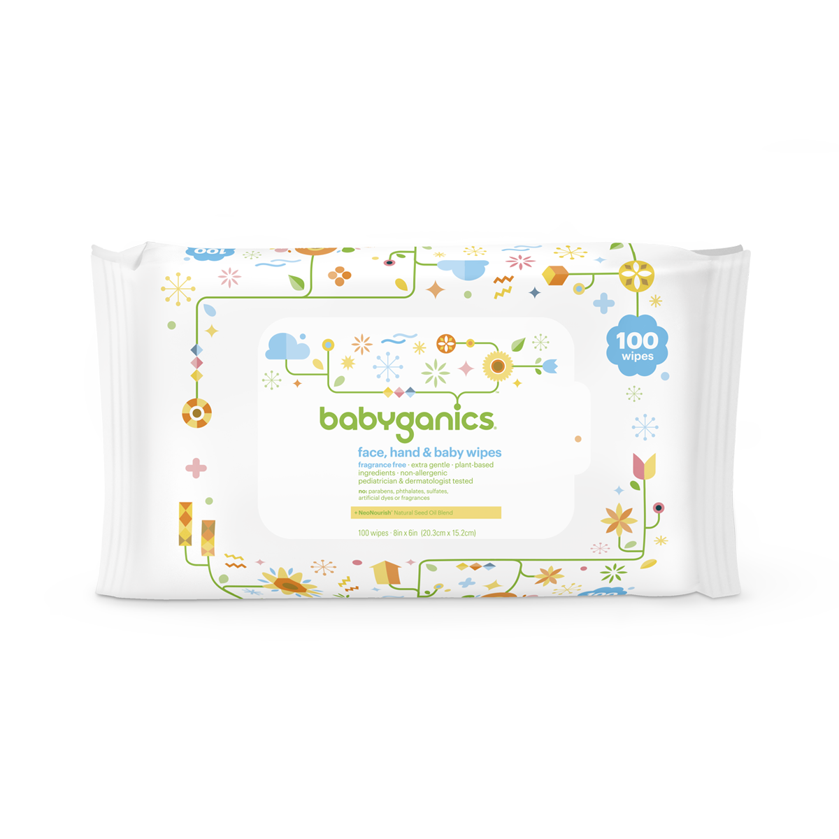 Babyganics Face, Hand & Baby Wipes, Unscented (100 count)