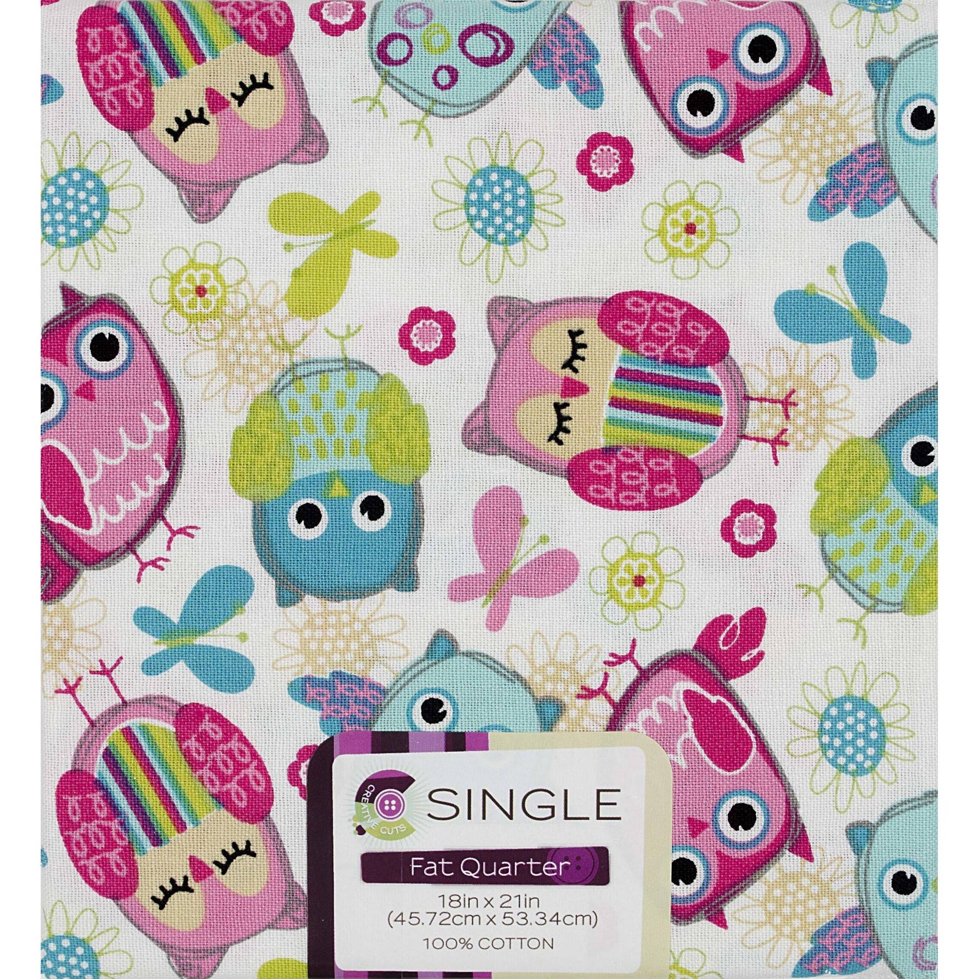 "Fabric Editions- Cotton Fabric, Fat Quarter, 18"" x 21"" OWL ..."