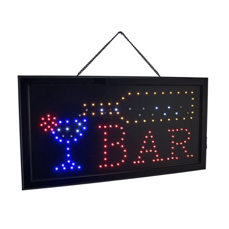 Hanging Electric LED Lighted Animated BAR Sign 19 X 10 Inch (Led Hanging Lights)