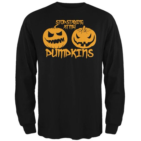 Halloween Staring at my Pumpkins Black Adult Long Sleeve - Black Pumpkins Halloween