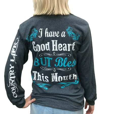 Country Life I Have a Good Heart But Bless This Mouth Heather Gray Long Sleeve Women's Shirt ()