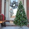 Ktaxon 7ft Snow Flocked Hinged Artificial Pine Christmas Tree with 61 Pine Cones,Holiday Decoration w/Metal Stand