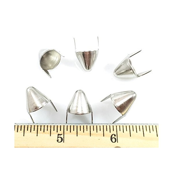 """Nailheads Spots Studs 2 Prong Round Cone-Shaped 1/2""""; Steel with Nickel Finish; 100 Pcs"""