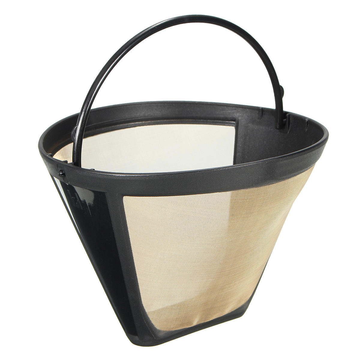 Permanent Reusable #4 Cone Shape Coffee Filter Stainless Mesh Basket Gold Tone 118x85x55mm