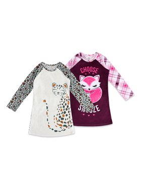 Wonder Nation Girl's Exclusive Super Soft Long Sleeve Pajama Nightgown 2-Pack 4-18 & Plus