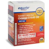 Equate Superior Omega-3 3 Krill Oil 350 mg, 65 ct Softgels